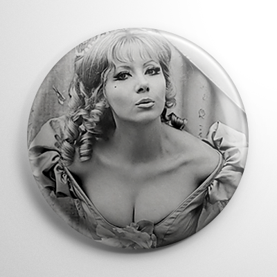 Ingrid Pitt Countess Dracula B&W (B) Button