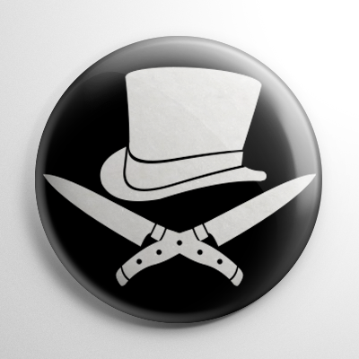 Jack the Ripper Crossbones B&W Button