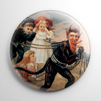 Krampus Dragging Kids Button