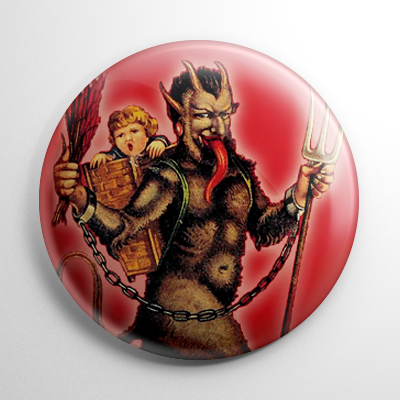 Krampus with Kid in Pack Button