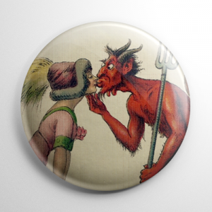 Krampus Kissing Button