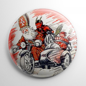 Krampus on Motorcycle Button