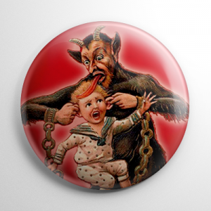 Krampus Pulling Ears Button