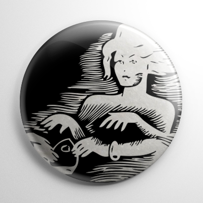 Ouija Board Players B&W Button