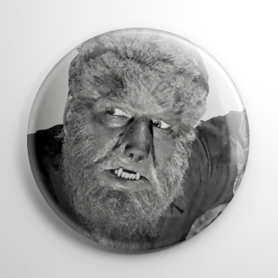 Wolf Man Lon Chaney B&W Button