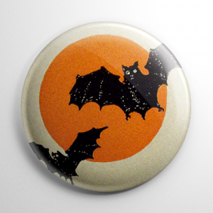 Vintage Halloween - Bats Over the Moon Button