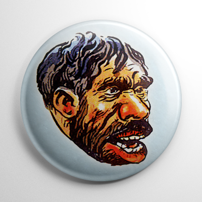 Vintage Halloween Mask Chilling Caveman Color Button