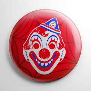 Vintage Collegeville Clown Mask Red Button