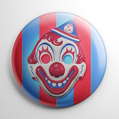 Vintage Collegeville Clown Mask (B) Button