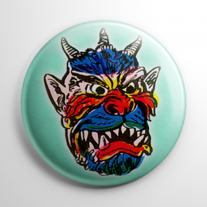Vintage Halloween Mask Dragon Devil Button