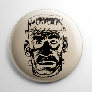 Vintage Halloween Mask Frankenstein Button