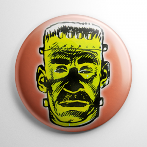 Vintage Halloween Mask Frankenstein Color Button