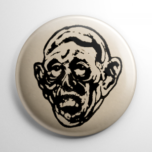 Vintage Halloween Mask Ghoul Button