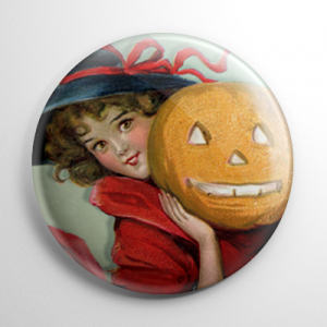 Vintage Halloween - Witch with a Pumpkin Button