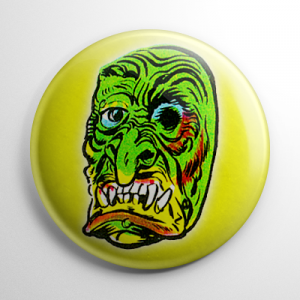 Vintage Halloween Mask Gooney Button