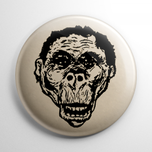 Vintage Halloween Mask Gorilla Monster Button