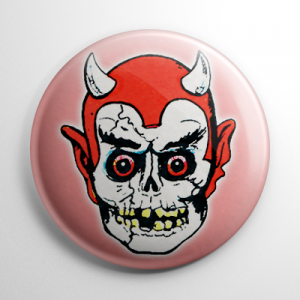 Vintage Halloween Mask Graveyard Devil Button
