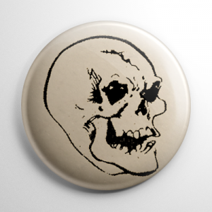 Vintage Halloween Mask Grinning Skull Button