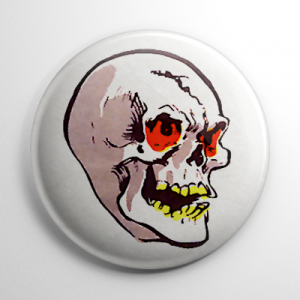 Vintage Halloween Mask Grinning Skull Color Button