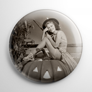 Halloween Pin Up - Ann Nagel Witch with Pumpkin Button