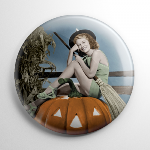 Halloween Pin Up - Ann Nagel Witch with Pumpkin (Color) Button