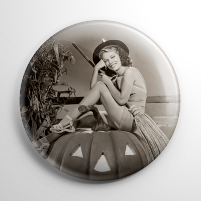 Halloween Pin Up – Ann Nagel Witch with Pumpkin Button