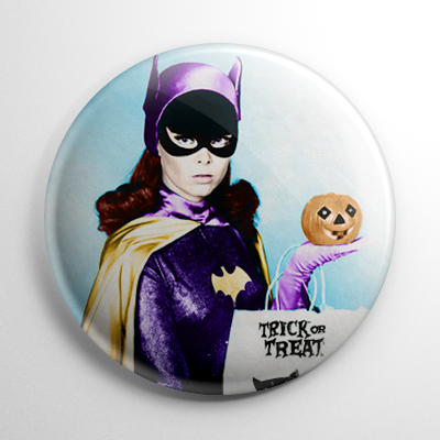 Halloween Pin Up - Batgirl Yvonne Craig with Pumpkin Color Button