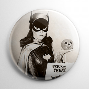 Halloween Pin Up - Batgirl Yvonne Craig with Pumpkin Button