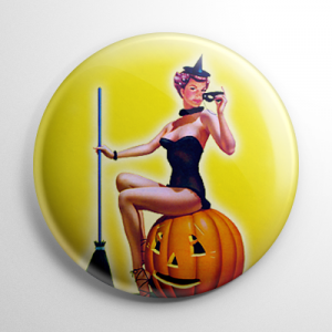 Halloween Pin Up - Witch on Pumpkin Bill Layne