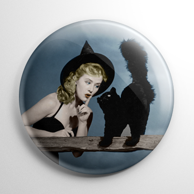 Halloween Pin Up - Joyce Holden Witch with Cat Color Button