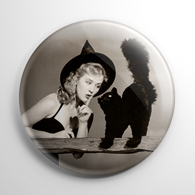 Halloween Pin Up – Joyce Holden Witch with Cat Button