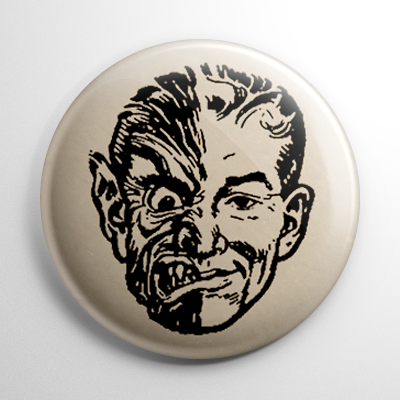Vintage Halloween Mask Jekyll & Hyde Button