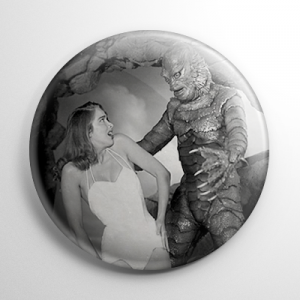 Scream Queen - Julie Adams Creature from the Black Lagoon (B) B&W Button