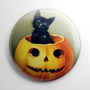 Vintage Halloween - Kitty in a Pumpkin Button