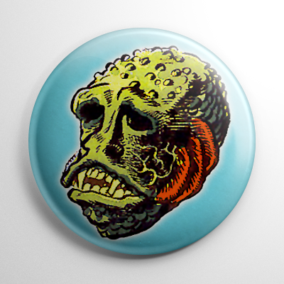 Vintage Halloween Mask Lagoon Monster Color Button