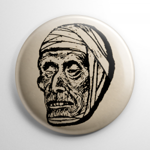 Vintage Halloween Mask Mummy Button