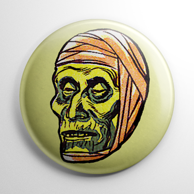 Vintage Halloween Mask Mummy Color Button