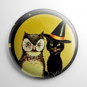Vintage Halloween - Owl and Witch Kitty Button