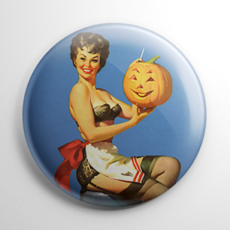 Halloween Pin Up - Pumpkin Carving Button