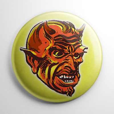 Vintage Halloween Mask Red Devil Color Button