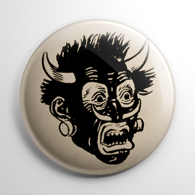 Vintage Halloween Mask Savage Cannibal Button
