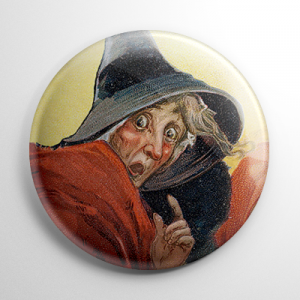Vintage Halloween - Scared Witch Button