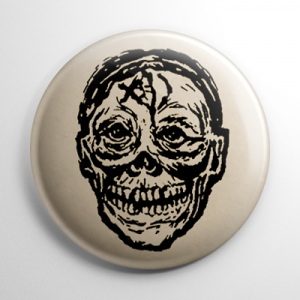 Vintage Halloween Mask Screaming Skull Button