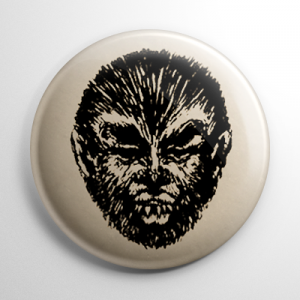 Vintage Halloween Mask Teenage Werewolf Button