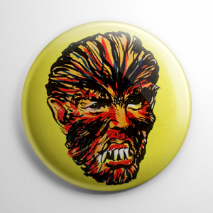 Vintage Halloween Mask Teenage Werewolf Color Button