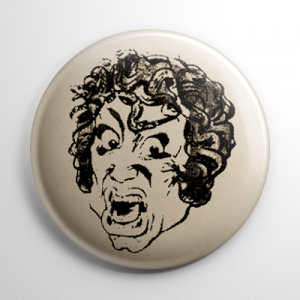 Vintage Halloween Mask Terror Medusa Button