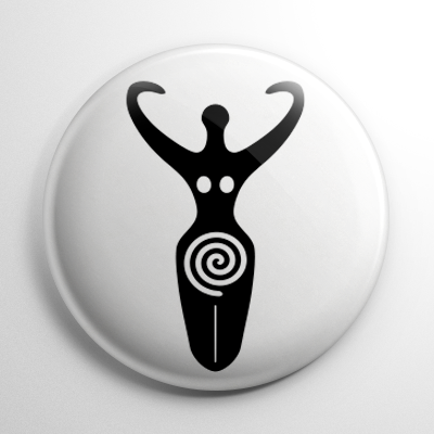 Triple Goddess White Button