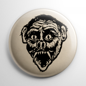 Vintage Halloween Mask Vampire Button