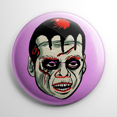 Vintage Halloween Mask Vampire Color Button