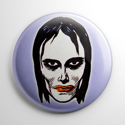 Vintage Halloween Mask Vampire Girl Color Button
